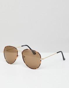 Солнцезащитные очки-авиаторы в черепаховой оправе с коричневыми стеклами ASOS DESIGN - Коричневый