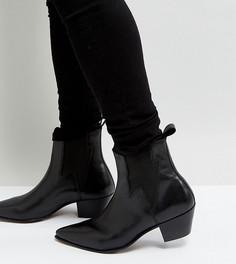 Черные кожаные ботинки на кубинском каблуке дли широкой стопы со вставкой в виде молнии ASOS DESIGN - Черный
