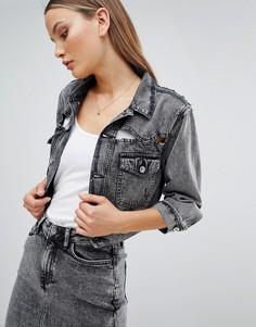Укороченная джинсовая куртка с прорехами Diesel - Черный