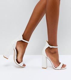 Блестящие босоножки на высоком блочном каблуке Be Mine Bridal Laurel - Белый