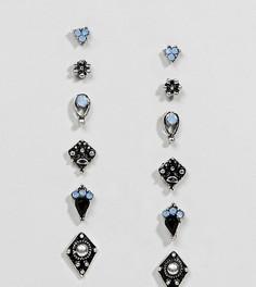 Набор из 6 пар серег-гвоздиков ASOS DESIGN - Серебряный