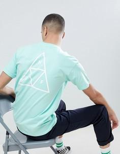 Зеленая футболка с принтом на спине HUF - Зеленый