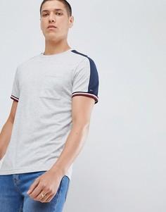 Серая меланжевая футболка с полосками и лентой на рукавах Tommy Hilfiger Sports Capsule Icon - Серый