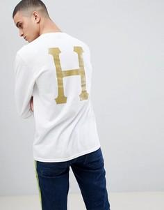 Белый лонгслив с принтом логотипа на спине HUF - Белый