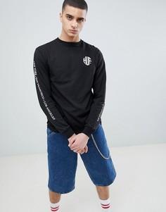 Черный лонгслив с принтом на спине HUF - Черный