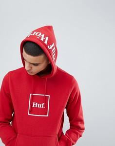 Красный худи с логотипом и принтом на капюшоне HUF - Красный