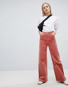 Широкие вельветовые брюки Weekday - Розовый