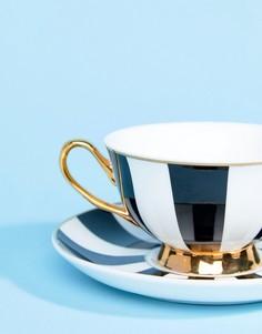 Чашка и блюдце в полоску Bombay Duck - Мульти