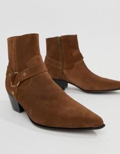 Светло-коричневые замшевые ботинки челси на кубинском каблуке ASOS DESIGN - Рыжий