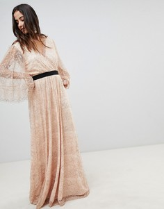 Кружевное платье макси с запахом Y.A.S - Розовый