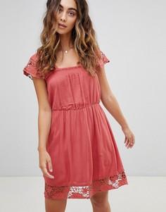 Платье с кружевной отделкой Pepe Jeans - Красный