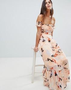 Платье миди с оборкой на подоле и принтом Y.A.S - Мульти