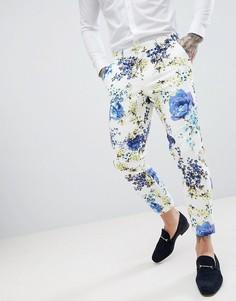 Белые хлопковые брюки скинни с цветочным принтом ASOS DESIGN Wedding - Белый