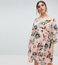 Короткое приталенное платье с цветочным принтом в стиле ретро Junarose - Мульти