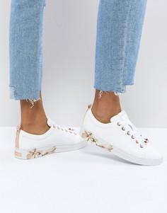 Кожаные кроссовки с цветочной отделкой Ted Baker - Белый