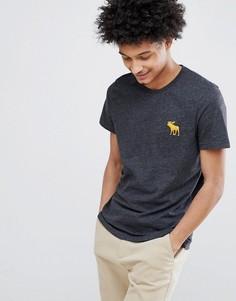 Черная меланжевая футболка с круглым вырезом и большим логотипом-лосем Abercrombie & Fitch - Черный