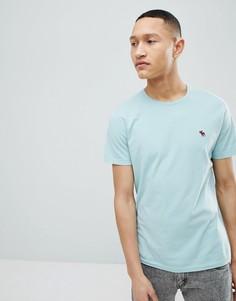 Светло-синяя футболка с круглым вырезом и логотипом Abercrombie & Fitch - Синий