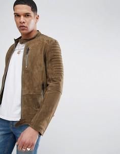 Замшевая байкерская куртка хаки Antony Morato - Черный