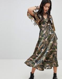 Чайное платье макси с комбинированным принтом Native Rose - Мульти
