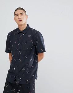 Черная рубашка с короткими рукавами Vans Tres Palmas VA3711PFP - Черный