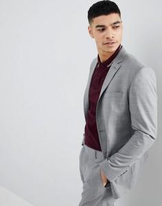 Серый приталенный пиджак в клетку boohooMAN - Серый