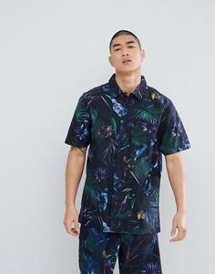 Черная рубашка с короткими рукавами и неоновым тропическим принтом Vans VA3712PI3 - Черный