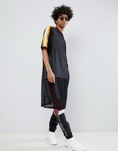 Длинная сетчатая oversize-футболка с лентой ASOS DESIGN - Черный