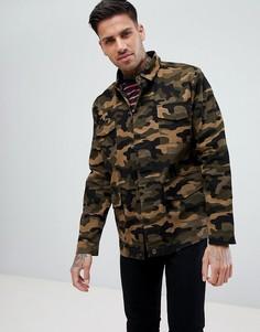 Куртка цвета хаки с камуфляжным принтом boohooMAN - Зеленый
