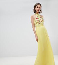 Плиссированное платье макси с вышивкой на лифе Frock And Frill - Желтый