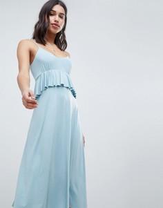 Легкое платье миди с баской ASOS DESIGN - Синий