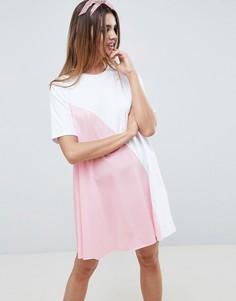 Платье-футболка мини в стиле колор блок ASOS DESIGN - Мульти