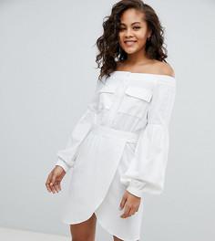 Платье мини с открытыми плечами и поясом ASOS DESIGN Tall - Белый