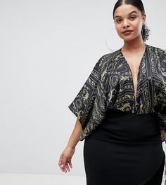 Боди в стиле кимоно с принтом Flounce London Plus - Мульти