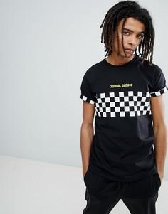 Черная футболка со вставкой в шахматную клетку Criminal Damage - Черный