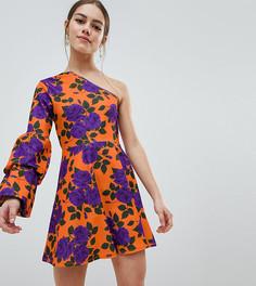 Короткое приталенное платье на одно плечо ASOS DESIGN Petite - Мульти