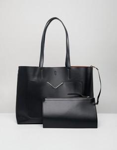 Сумка для покупок с передним карманом и съемным клатчем ASOS DESIGN - Черный