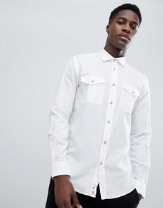 Белая рубашка с добавлением льна United Colors of Benetton - Белый