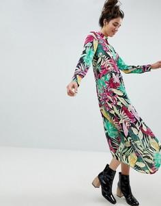 Платье-рубашка миди с тропическим принтом Monki - Мульти