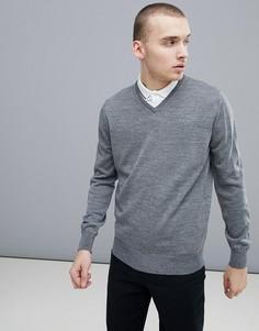 Серый джемпер из мериносовой шерсти с V-образным вырезом Calvin Klein Golf C9145 - Серый