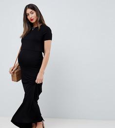 Двухслойное платье макси для кормления ASOS DESIGN Maternity - Черный