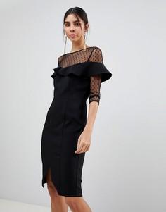 Сетчатое платье с рукавами 3/4 и оборками Paper Dolls - Черный