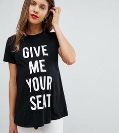 Черная футболка с принтом Give me your seat ASOS DESIGN Maternity - Черный