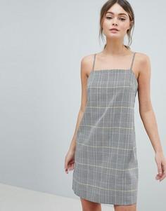 Платье мини в клетку с квадратным вырезом ASOS DESIGN - Мульти
