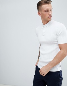 Белое трикотажное поло в рубчик Burton Menswear - Белый
