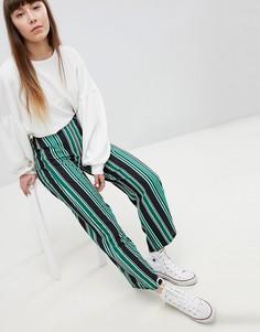 Широкие брюки в полоску New Look - Зеленый