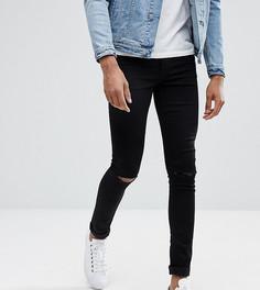 Черные джинсы скинни с рваными коленями ASOS TALL - Черный