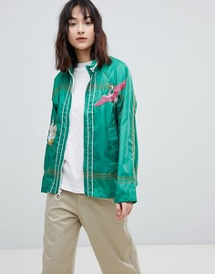Куртка-дождевик с вышивкой ASOS - Зеленый