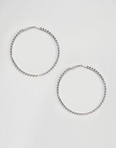 Крупные серьги-кольца с камнями DesignB London - Серебряный