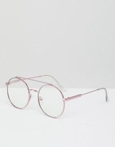 Круглые очки с прозрачными стеклами Jeepers Peepers - Розовый
