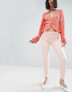 Светло-розовые джинсы скинни River Island Molly - Розовый